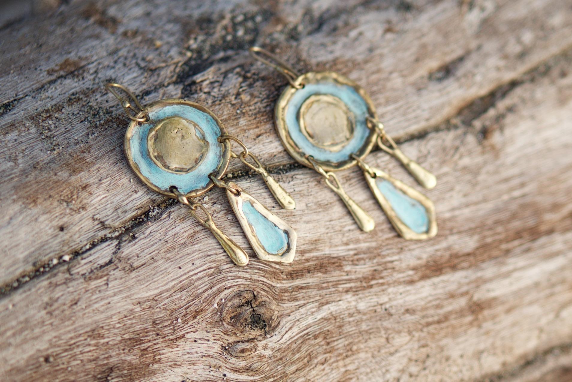 Tonatiuh Earrings (Mexican Handmade Bronze Jewelry)