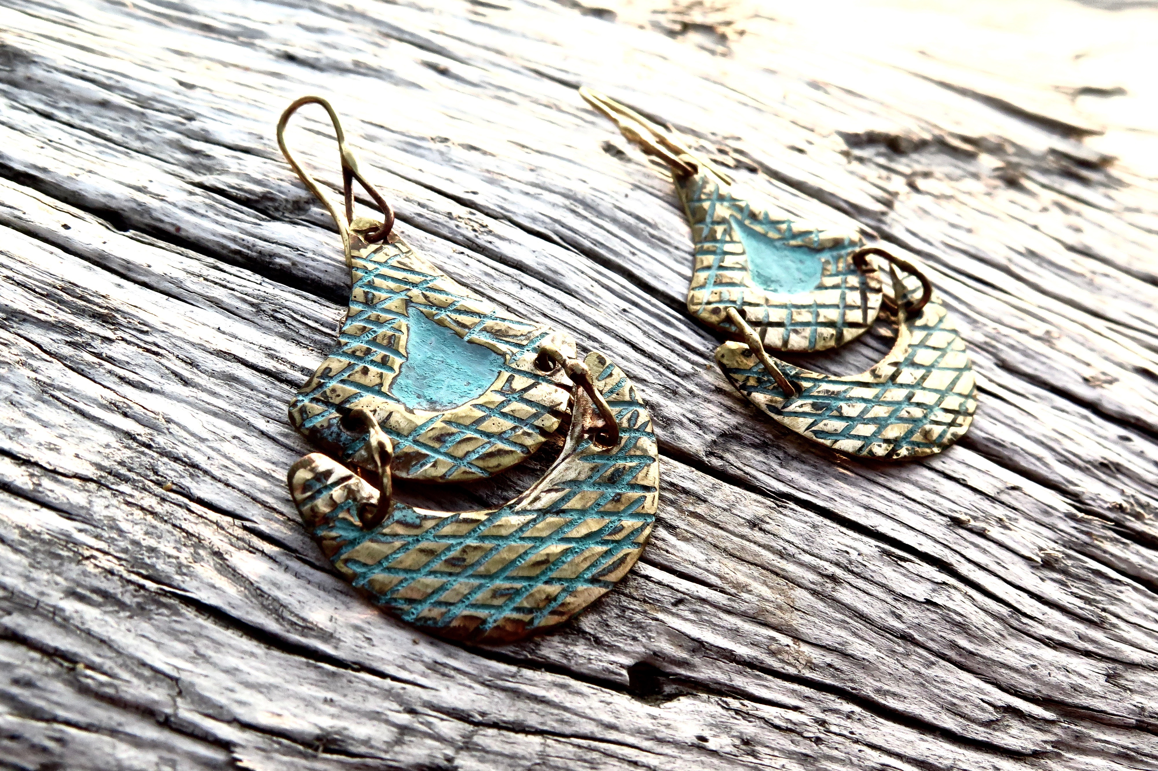Tlalli Handmade Bronze Earrings | Patina + Pattern