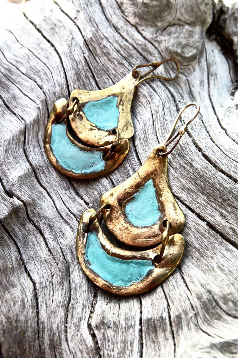 Tlalli Handmade Bronze Earrings | Patina Finish