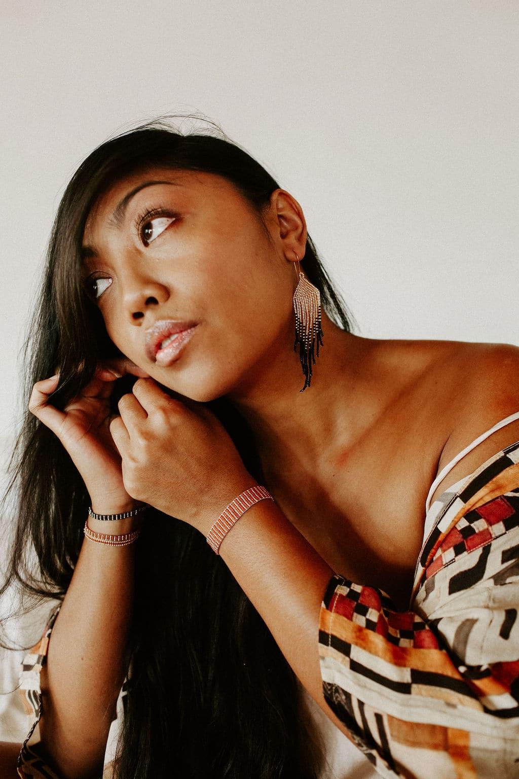 Sayulita Handmade Beaded Earrings | Rose Gold + Black