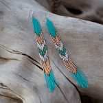 Lahmu Handmade Beaded Earrings | Turquoise + Rose Gold + White