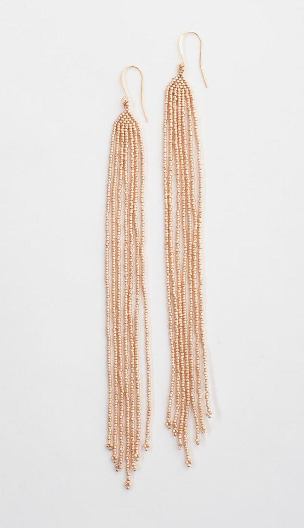 Lahmu Handmade Beaded Earrings | Rose Gold