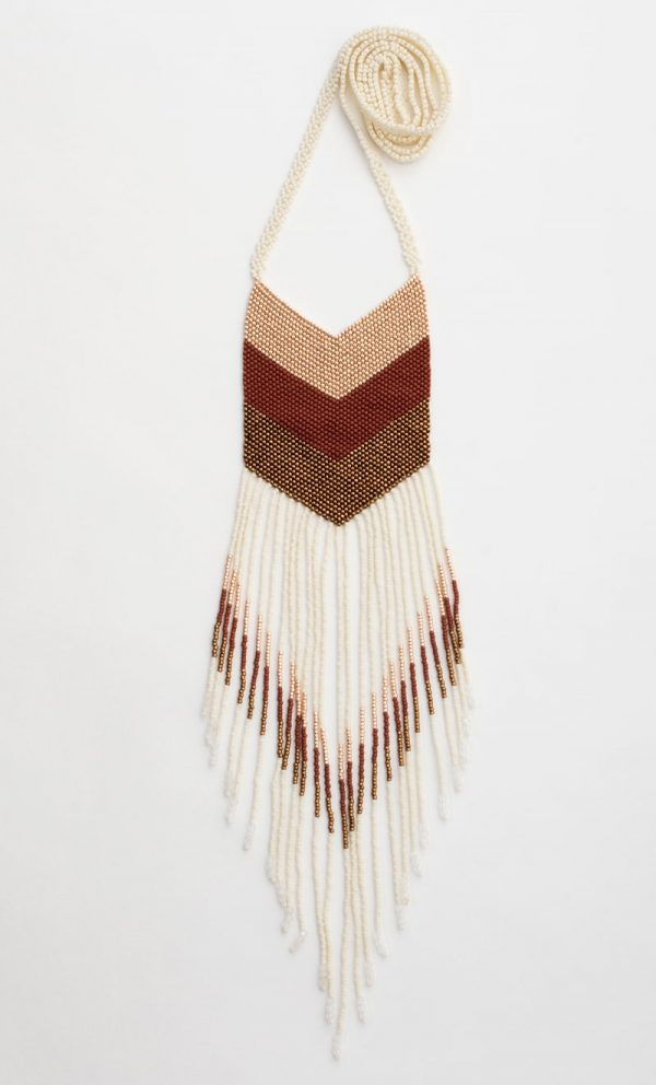 Nakawe Handmade Beaded Fringe necklace | ivory + Rust