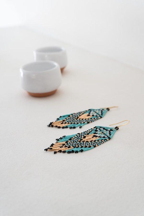 Ojo de Dios Handmade Beaded Earrings | Turquoise + Rose Gold