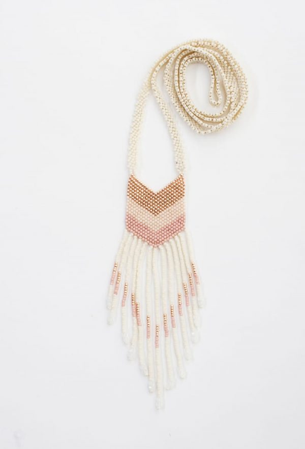 Small Nakawé Fringe Handmade Necklace in Rose Gold