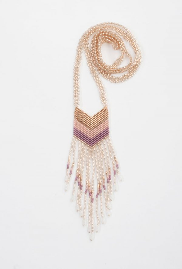 Small Nakawé Fringe Necklace in Rosaline and Rose Gold