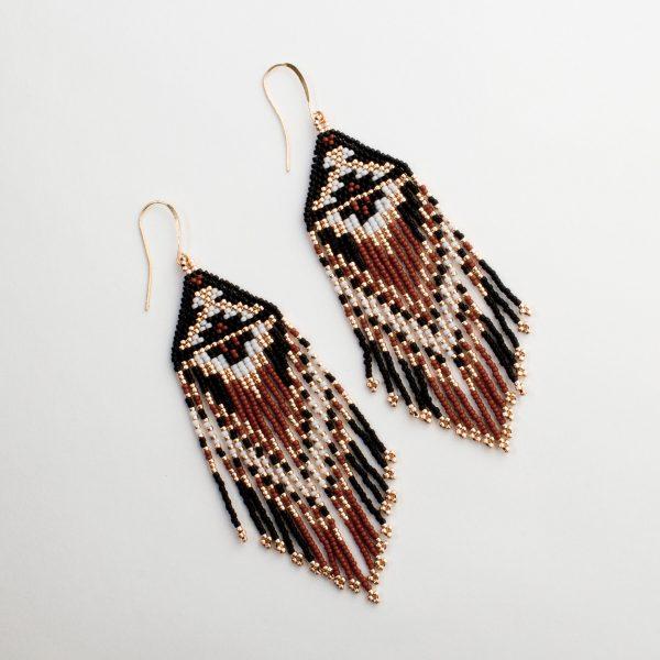 Ojo de Dios Handmade Beaded Earrings | Rust + Rose Gold