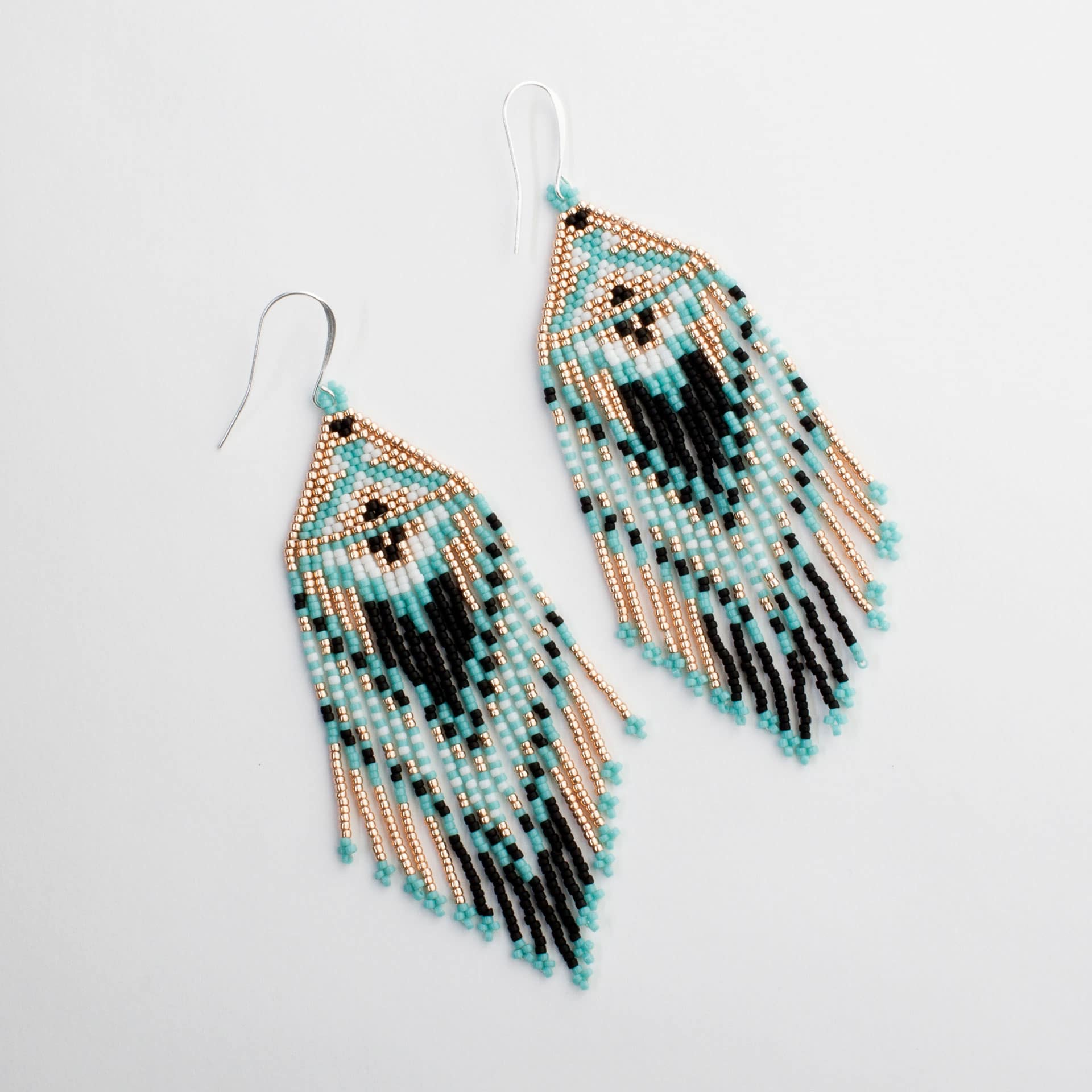 Handmade Black And Rose Gold Beaded Earrings Made In Mexico