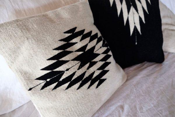 Zapotec Diamond Handmade Cushion | Natural + Noir