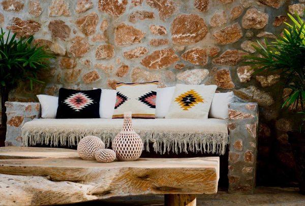 Relampago Handmade Cushion | Natural + Desert Rose
