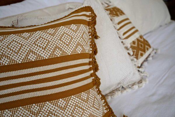 Diamante Handmade Cushion | Ochre + Natural