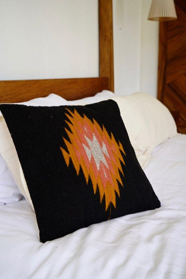 zapotec diamond handwoven cushion; noir + ochre + desert rose