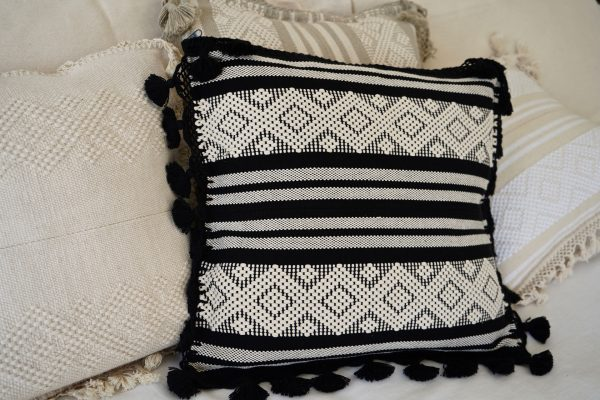 Diamante Handmade Cushion | Noir + Natural