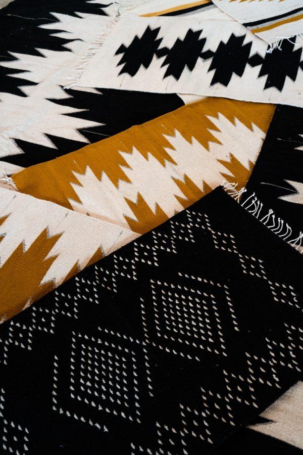 Lluvia Handwoven Mexican Rug | Noir + Natural