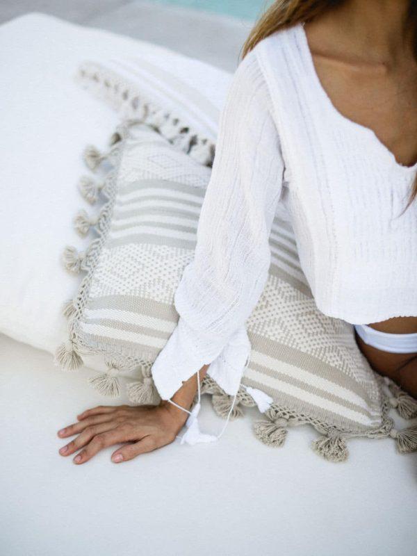 Diamante Handmade Cushion   Natural + Taupe