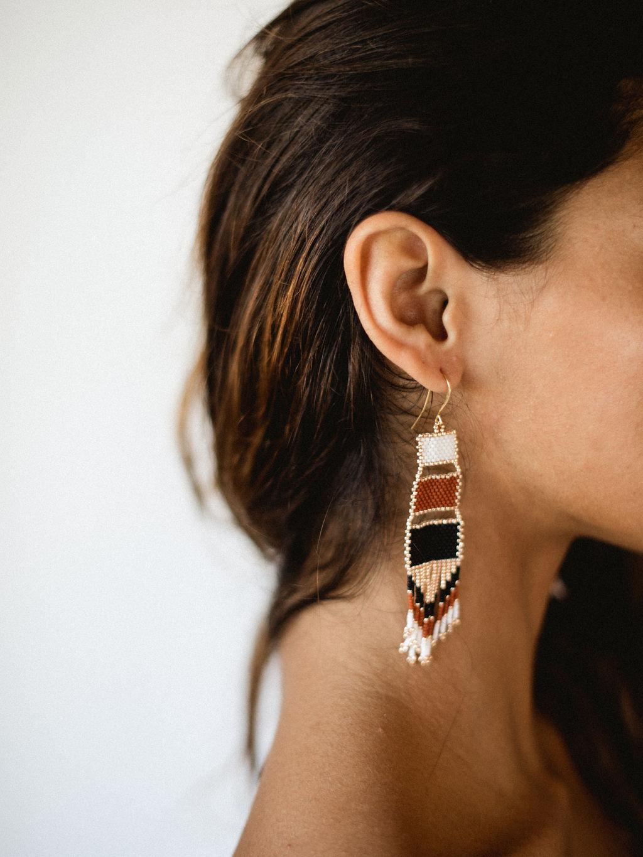 Nakawe Fringe Beaded Boho Earrings (1)
