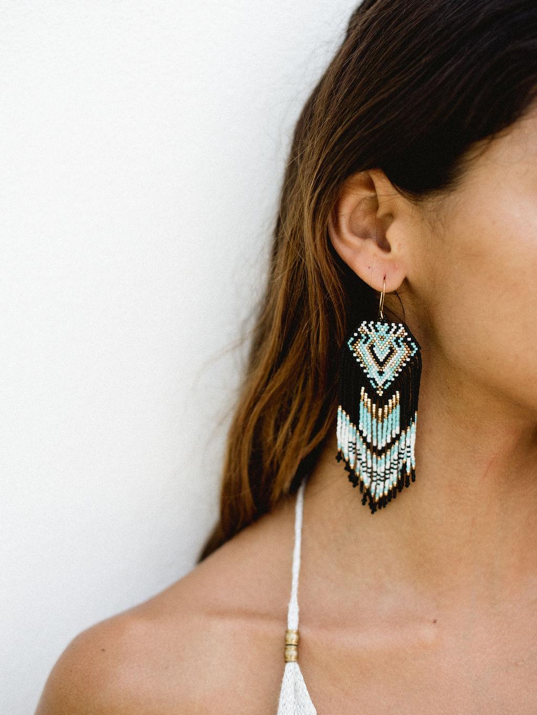 azul boho earrings handmade from beads (1)