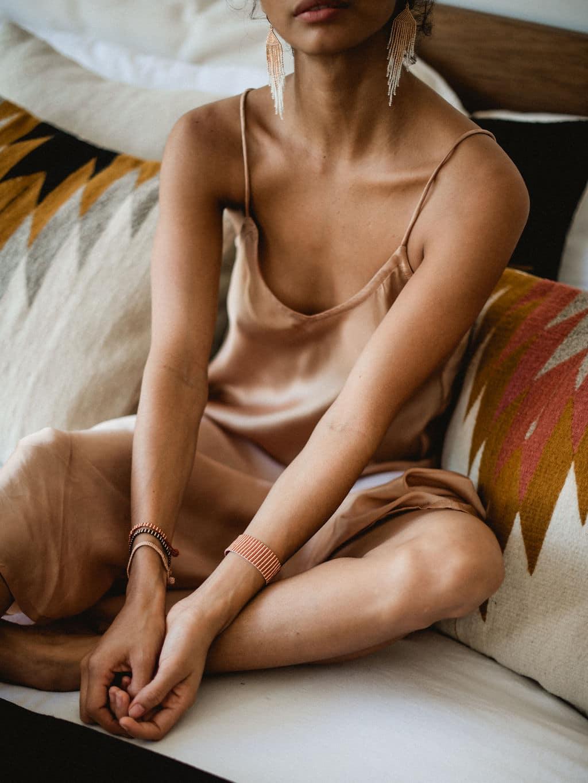 boho earrings _ sayulita rose gold and white