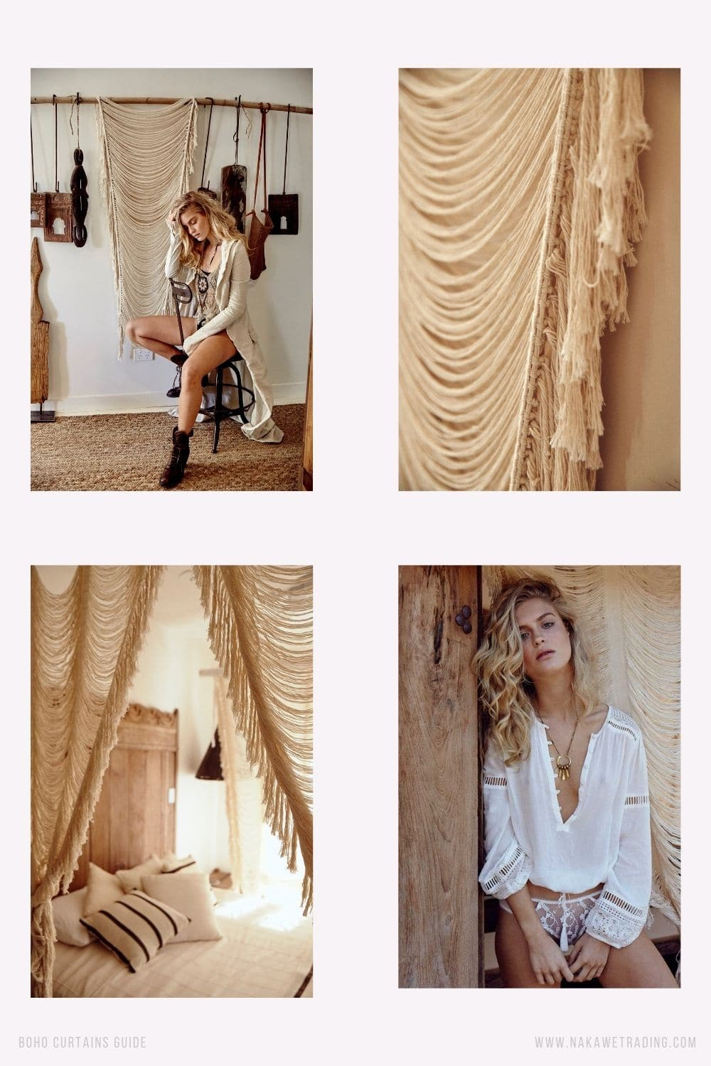 boho curtain ideas and hanging style (5)
