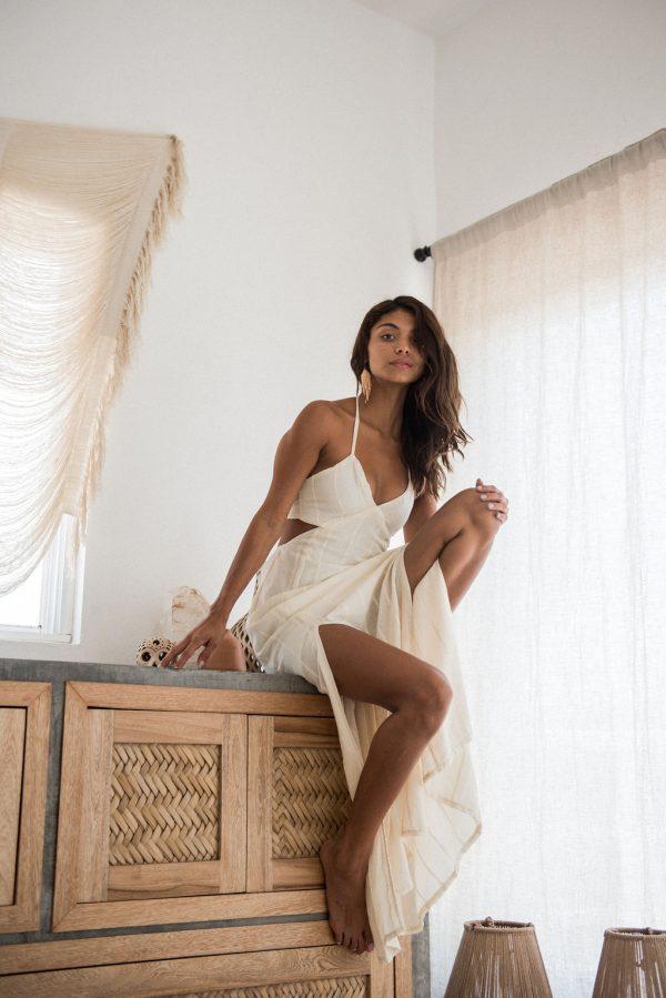 catalina boho halter maxi dress
