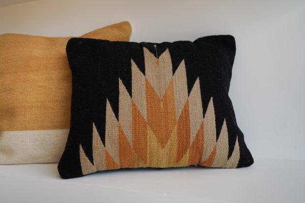 Relampago lumbar pillow   Black with clay tones