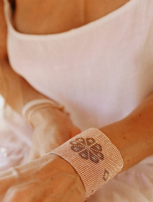 Peyote Medicine Bracelet in rose gold and pink