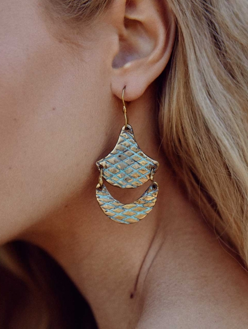 Tlalli Handmade Bronze Earrings | Patterned with Patina Finish