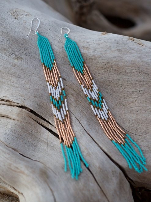 Lahmu beaded Earrings turquoise and rose gold