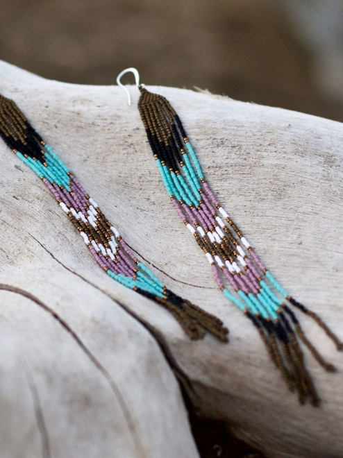 Lahmu Handmade Beaded Earrings | Bronze + Turquoise