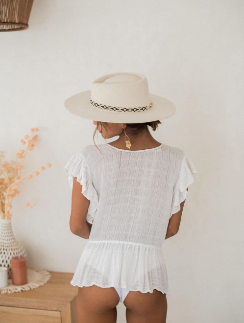 Catalina White Boho Blouse Mexican Embroidered