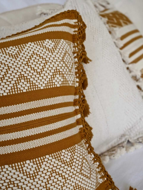 Diamante Handmade Cushion | ochre + natural