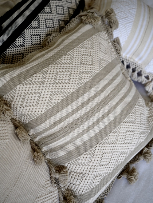 Diamante Handmade Cushion | Natural + Taupe