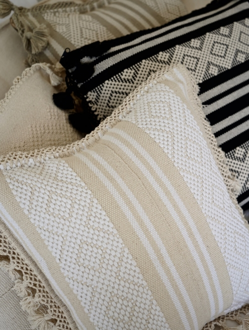 Diamante Handmade Cushion | Natural + Ivory