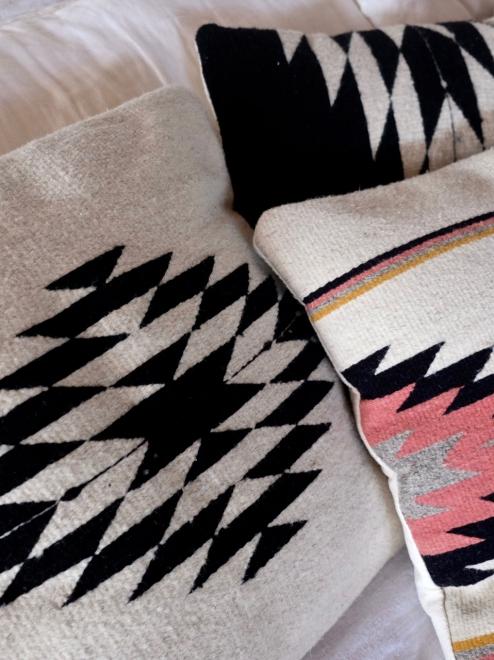 Zapotec Diamond Cushion   Natural + Noir
