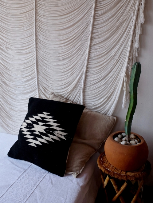 Zapotec Diamond Handmade Cushion | Black