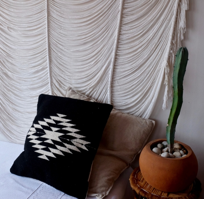 Zapotec Diamond Handmade Cushion   Black