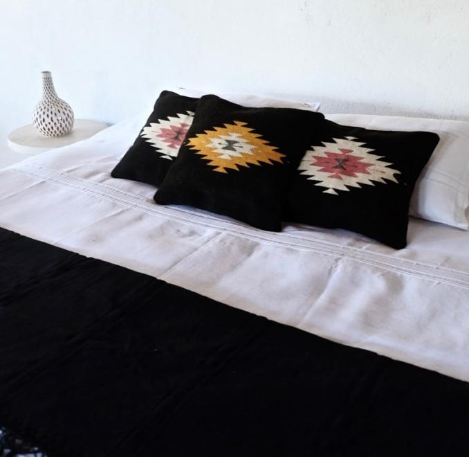 Zapotec Diamond cushion | Noir + Ochre