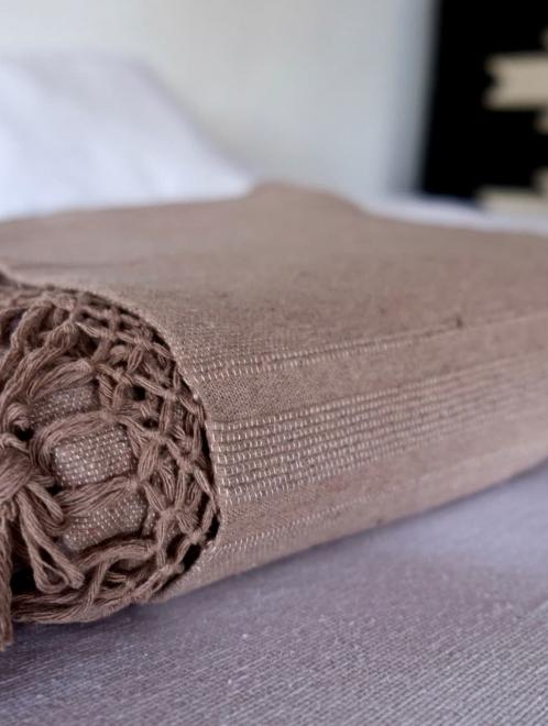 woven cotton tassel blanket in Mocha