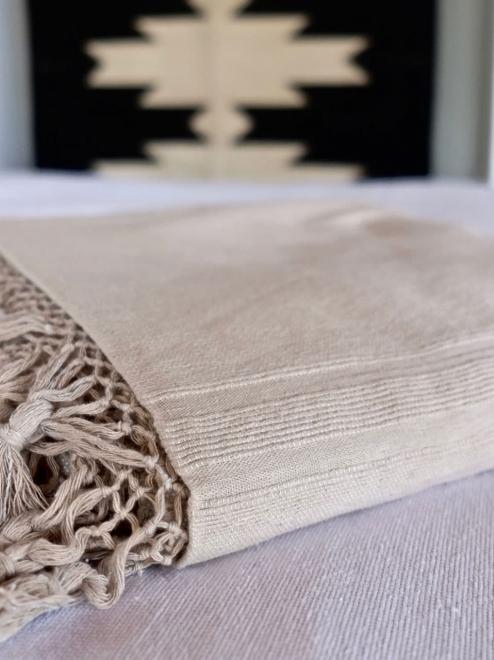 Cotton tassel blanket | Taupe