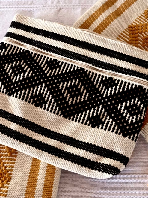Handwoven Mexican Textile Bag | Black & White