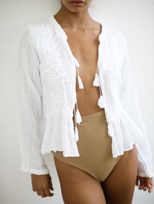 Embroidered Cotton Jacket | White