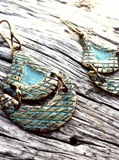 Tlalli Handmade Bronze Earrings | Patina + Pattern