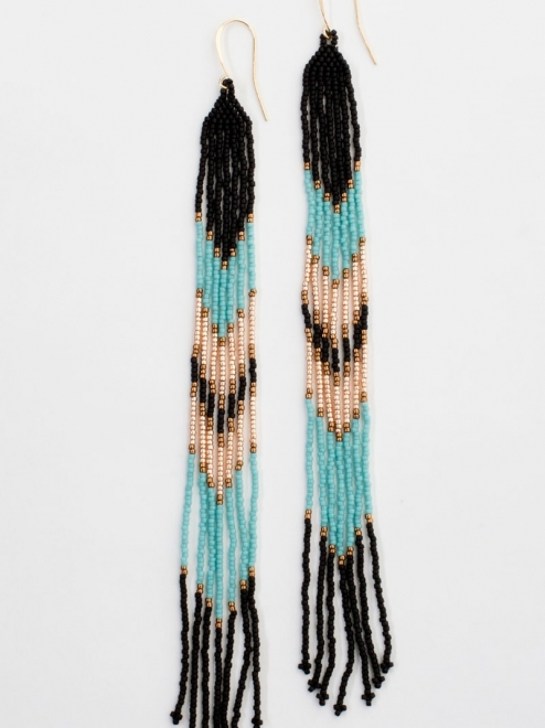 Lahmu beaded earrings in turquoise and rose gold