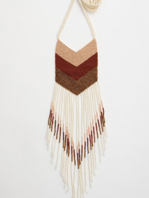 Nakawe beaded fringe necklace in ivory and rust