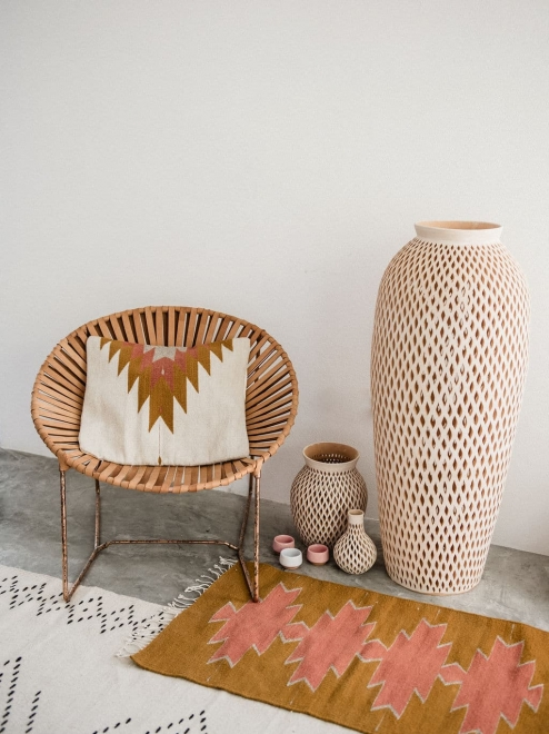 Relampago Cushion | Ochre + Desert Rose