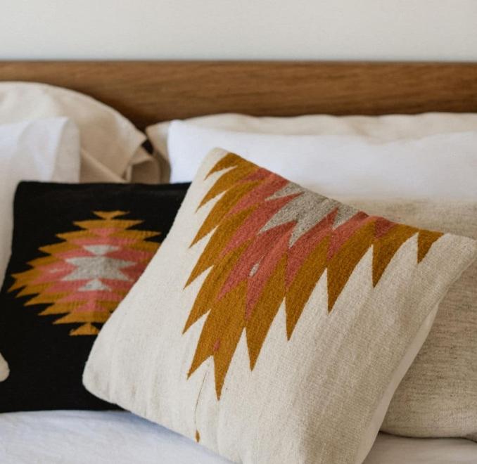 Relampago Handmade Cushion | Ochre + Desert Rose