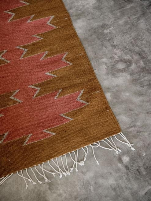 Maguey Handwoven Mexican  Rug | Ochre + Desert Rose