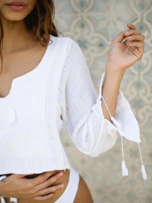 Mexican Embroidered White Cotton blouse