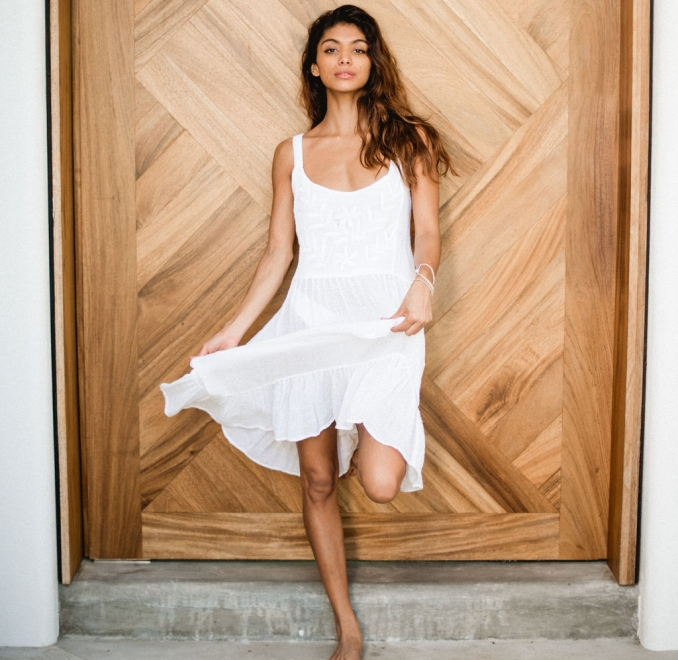 Embroidered White Cotton Sun Dress