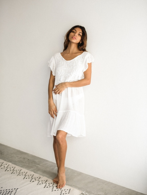 Embroidered White Cotton Moon Dress
